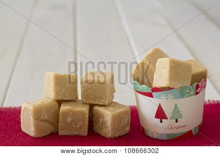 Cup of Caramel Fudge Christmas Gift with Stack on Side