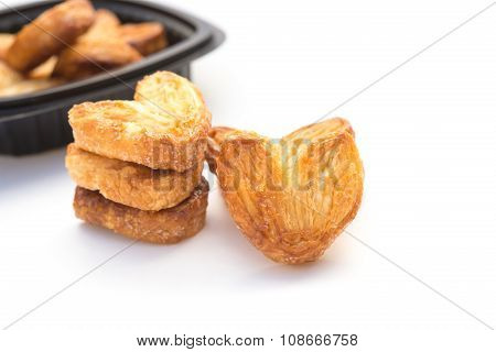 Homemade Heart Shape Sweet Biscuit On A White Background