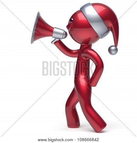 Character Speaking Megaphone Merry Christmas Santa Hat Man