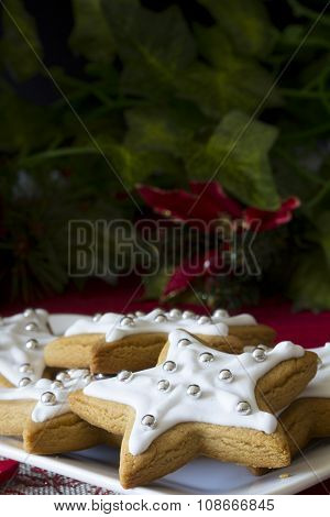 Decorated Christmas Star Cookies Vertical