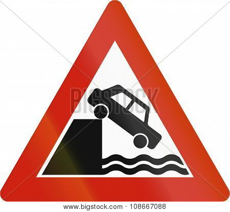 Norwegian Road Warning Sign - Quayside Or Edge Of Water