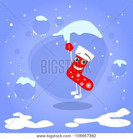 Christmas Red Socks Hang on Icicle Cartoon Character Concept
