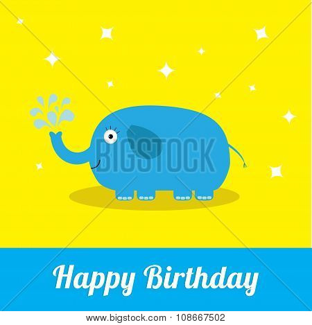 Happy Birthday Card With Cute Elephant And Fountain. Baby Background Flat Design