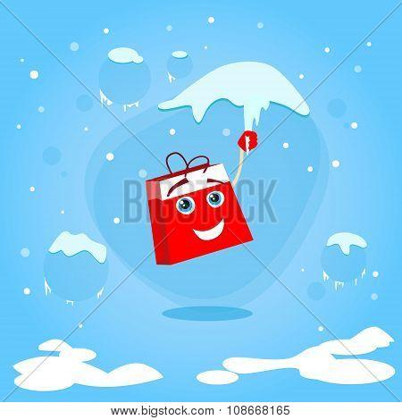 Red Shopping Bag Cartoon Character Hang on Icicle Christmas