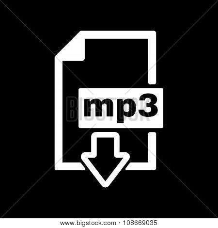 The mp3 icon. File audio format symbol. Flat