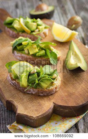 Bruschetta With Avocado, Arugula, Lemon And Pine Nuts