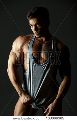 Advertising underwear. Hot muscular male model