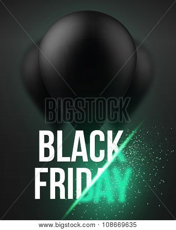 Black Friday Sale Air Balloon Poster Template with Explosion