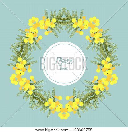Floral retro vintage background, vector illustration, mimosa