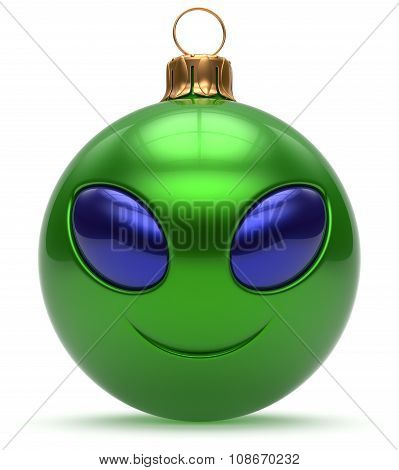 Smiley Alien Face Christmas Ball Happy New Year Bauble Green