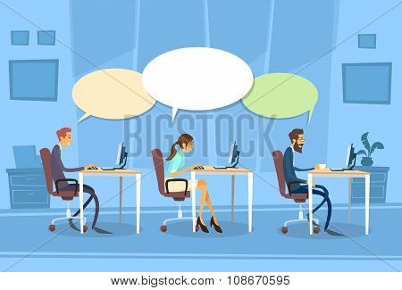 Businesspeople Group Communication Chat Dialog Sitting Desk Office