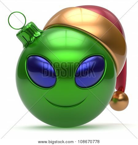 Christmas Ball Happy New Year Bauble Smiley Alien Face Green