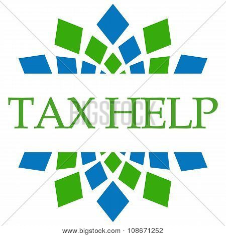 Tax Help Green Blue Squares Background