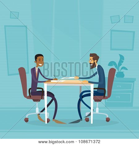 Business People Diverse Ethnic Group Sitting at Office Desk