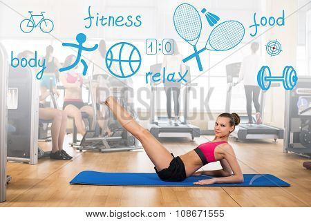 Woman makes sports exercise