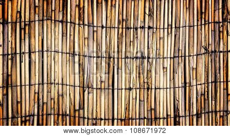 Texture Of Wall Of Bound Bamboo High Contrasted With Vignetting Effect