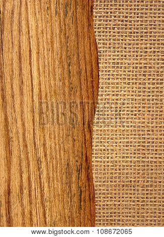 Wooden Plank Over Burlap Texture Background