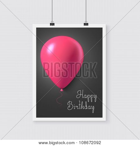 Happy Birthday Vector Poster with Balloons. Realistic Vector Bal