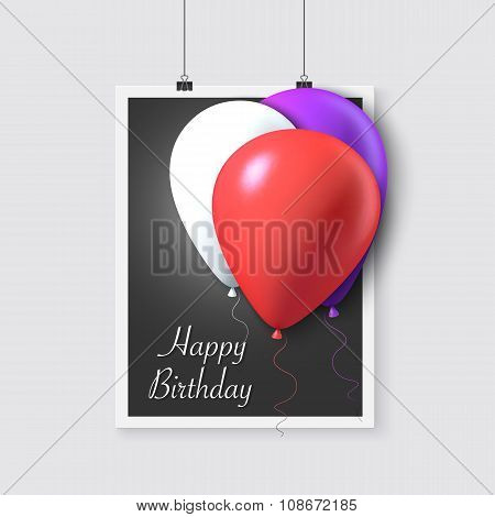 Happy Birthday Vector Poster with Balloons. Realistic Vector