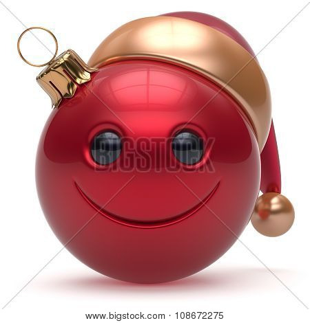 Smiley Face Christmas Ball Emoticon Happy New Year Bauble
