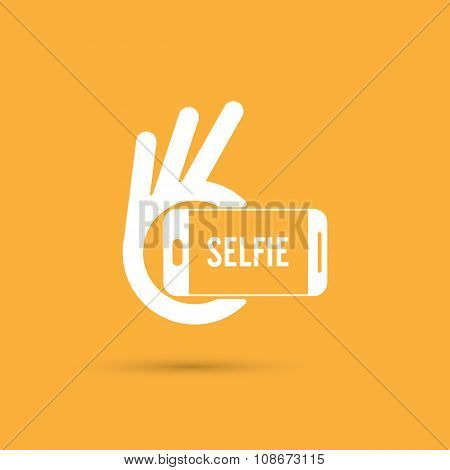Taking Selfie Portrait Photo On Smart Phone Concept Icon. Selfie Concept Design Element.