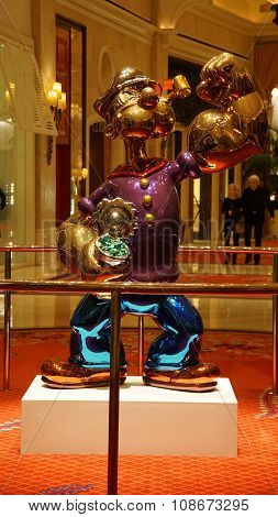 Jeff Koons Popeye Sculpture display at the Wynn Hotel in Las Vegas