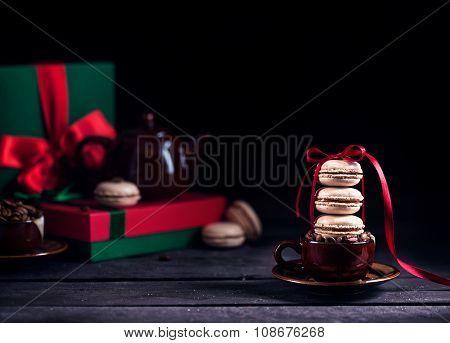 French Macarons And Coffee On Christmas