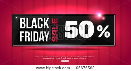 Black Friday Super Sale shining horizontal banner, coupon, discount and price.