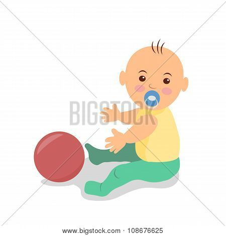 Little baby sitting on the floor and playing with a ball. Isolated vector illustration