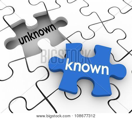 Known word on a puzzle piece about to fill in a hole marked Unknown to illustrate finding missing information to complete knowledge or learning