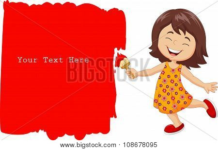 Cartoon little girl painting the wall with red color