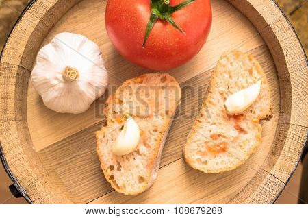 Spanish Tapas With Tomato Garlic Head