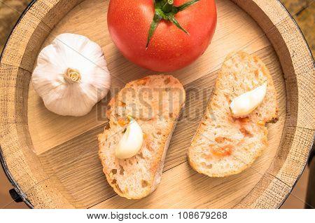 Spanish Tapas With Tomato Garlic Head