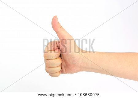 Woman Hand Tumb Sign. Isolated On White Background