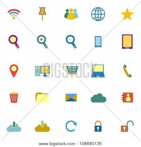 Internet Color Icons On White Background