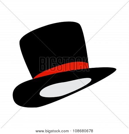 Magic Hat, Gentleman Hat Cylinder With Ribbon Icon, Symbol, Design. Vector Illustration Isolated On