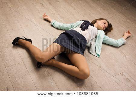 Crime Scene Simulation. Victim Lying On The Floor