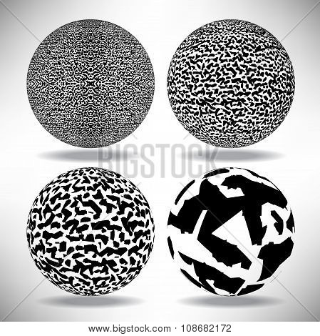 Set Of Background Ball With Shadow Engraved Dots And Spots