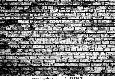 Texture Of Brick Wall Black And White High Contrasted With Vignetting Effect