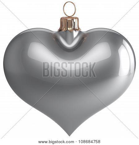 Heart Shape Christmas Ball New Year's Eve Love Bauble Silver