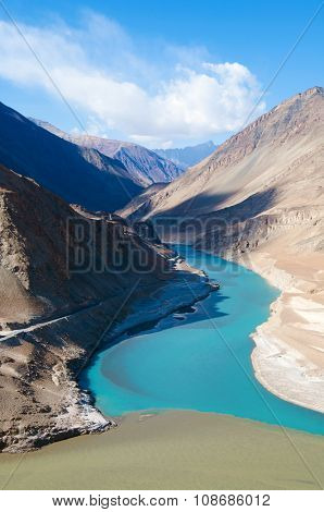 Confluence of Zanskar and Indus rivers - Leh, Ladakh, North India