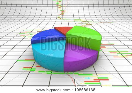 A Colorful 3D Pie Chart Graph.