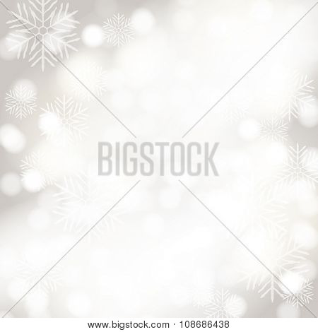 Vector abstract bokeh background with snowflakes. Festive defocused lights.