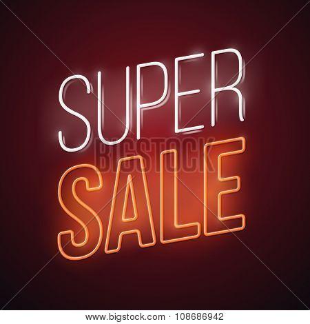 Neon super sale illustration. Glowing advertising vector design.