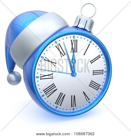 Christmas Ball Alarm Clock New Year's Eve Time Santa Hat Blue