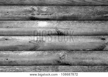 Log House Beech Wood Texture With Hammered A Nails Black And White