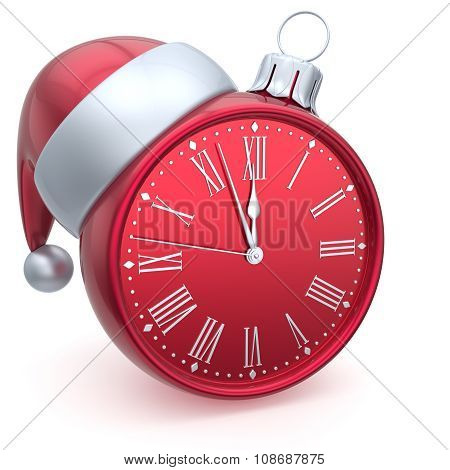 Christmas Ball Alarm Clock New Year's Eve Time Santa Hat Red