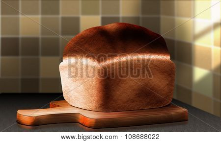 Cutting Board Lying On The Kitchen Table And A Loaf Of Bread
