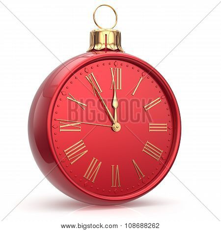 New Year's Eve Time Alarm Clock Bauble Christmas Ball Red