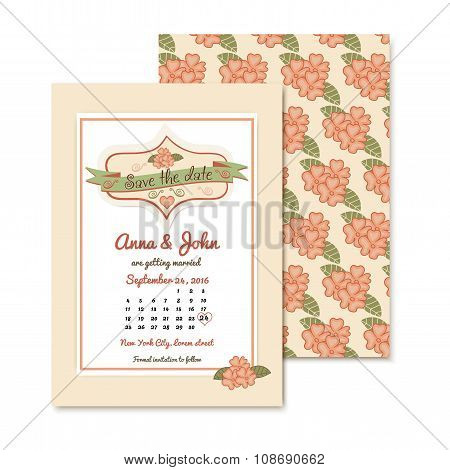 vintage wedding invitation template with floral pattern. wedding vector illustration